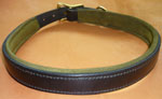 Custom Dog Collar - Black English leather with moss green suede padding